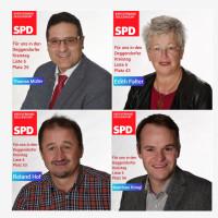 Die Kreistagskandidaten Thomas Müller, Edith Falter, Roland Hof und Matthias Knogl.